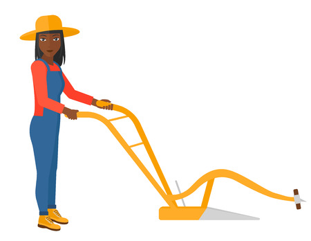 An african-american farmer using a plough vector flat design illustration isolated on white background. Illustration