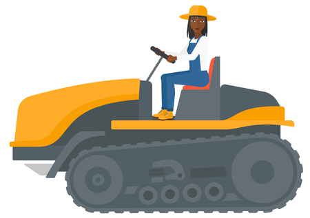 fieldwork: An african-american farmer driving a catepillar tractor vector flat design illustration isolated on white background.