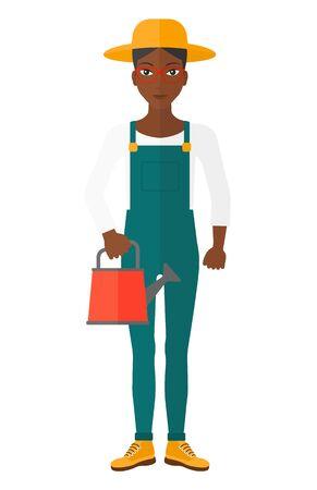 白い背景で隔離の水まき缶ベクトル フラット デザイン図を保持しているアフリカ系アメリカ人の農夫。
