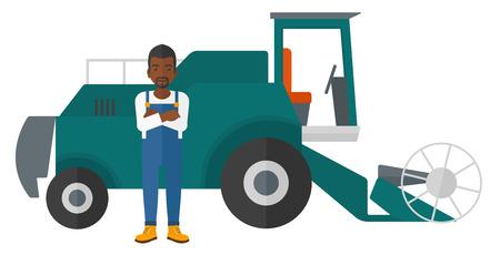 Un agriculteur afro-américain permanent avec une moissonneuse-batteuse sur une illustration de vecteur design plat de fond isolé sur fond blanc. Banque d'images - 50784870