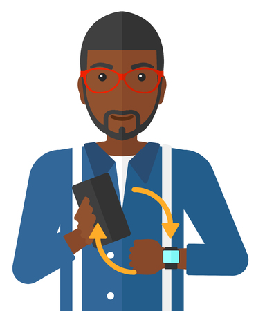 media gadget: An african-american man holding a smartphone and looking at his smart watch vector flat design illustration isolated on white background.