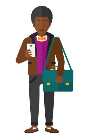 using smartphone: An african-american man using a smartphone vector flat design illustration isolated on white background. Illustration