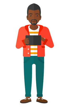 using tablet: An african-american man using a tablet computer vector flat design illustration isolated on white background.