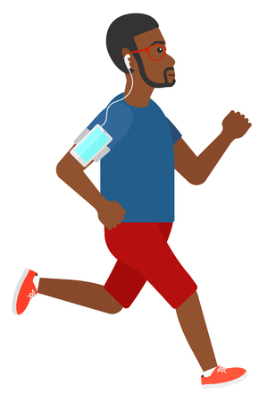 armband: An african-american jogger training with earphones and a smart phone armband vector flat design illustration isolated on white background. Illustration
