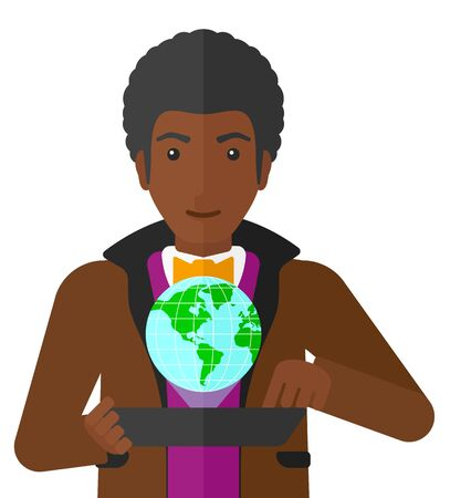 computer model: An african-american man standing with a tablet computer  in hands and a model of globe above the device vector flat design illustration isolated on white background. Illustration