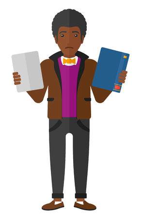 choosing: A confused man choosing between a tablet computer and a paper book vector flat design illustration isolated on white background.