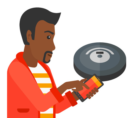 controlling: An african-american man controlling robot vacuum cleaner with his smartphone vector flat design illustration isolated on white background.