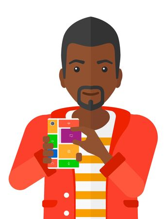 An african-american man with modular phone vector flat design illustration isolated on white background.