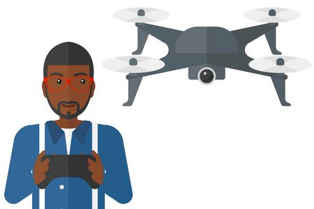 man flying: An african-american man flying drone with remote control vector flat design illustration isolated on white background.