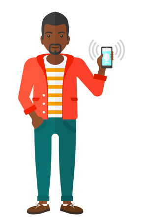 vibrating: An african-american man holding vibrating smartphone vector flat design illustration isolated on white background.