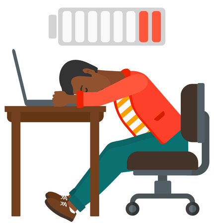 Tired employee sleeping at workplace on laptop keyboard and low power battery sign over his head vector flat design illustration isolated on white background. Ilustração