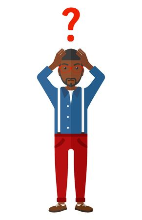 worried: A confused man clutching his head and a big question mark above vector flat design illustration isolated on white background.
