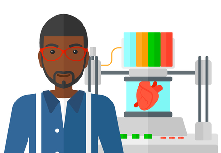 An african-american man standing near 3D printer making a heart vector flat design illustration isolated on white background.