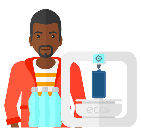 using smartphone: An african-american man standing near 3D printer making a smartphone using recycled plastic vector flat design illustration isolated on white background.