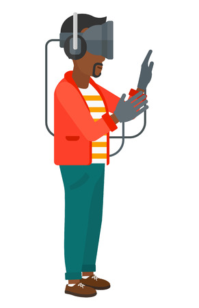 An african-american man wearing a virtual relaity headset vector flat design illustration isolated on white background. Stock Vector - 50784838