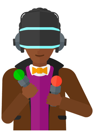 An african-american man wearing a virtual relaity headset vector flat design illustration isolated on white background.