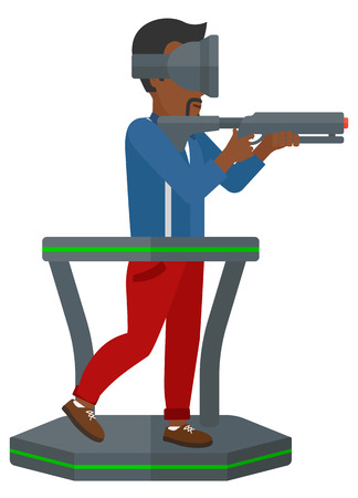An african-american man in oculus rift on a treadmill with a gun in hands vector flat design illustration isolated on white background. Illusztráció