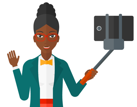 An african-american woman making selfie with a selfie-stick vector flat design illustration isolated on white background. Illustration