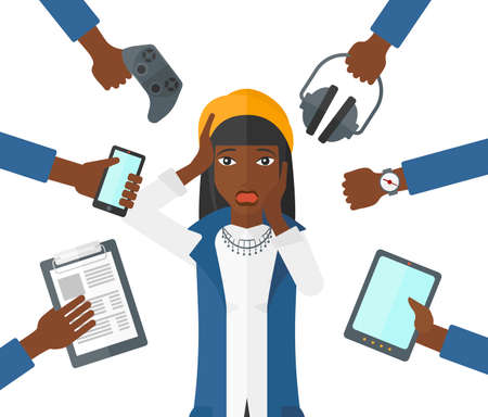 An african-american woman in despair and many hands with gadgets around her vector flat design illustration isolated on white background.