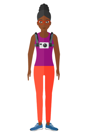 hanging woman: An african-american woman with a camera on her chest vector flat design illustration isolated on white background.