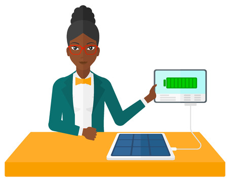 woman tablet: An african-american woman charging a tablet computer with solar panel vector flat design illustration isolated on white background. Illustration