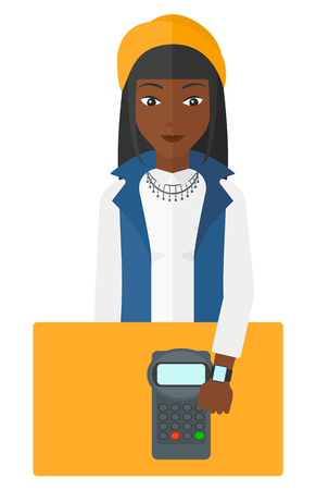 smart woman: An african-american woman with smart watch on the wrist making payment transaction vector flat design illustration isolated on white background.