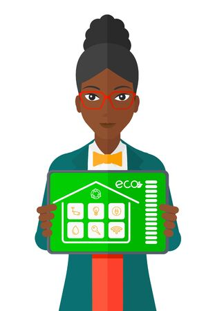 An african-american woman holding a tablet computer with smart home application on a screen vector flat design illustration isolated on white background. Illustration