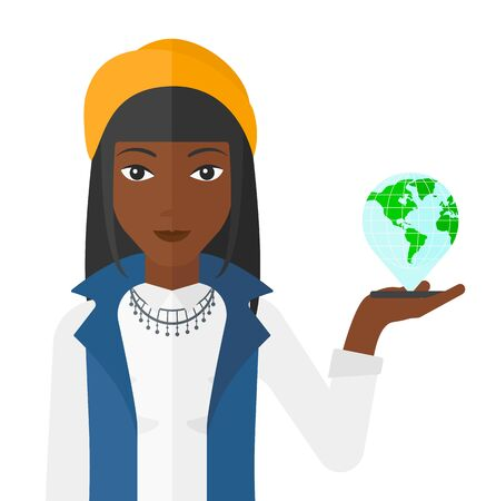 africanamerican: An african-american woman standing with a smartphone in a hand and a model of globe above the device vector flat design illustration isolated on white background.