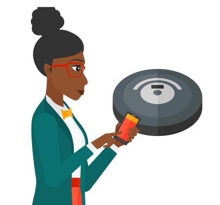 controlling: An african-american woman controlling robot vacuum cleaner with her smartphone vector flat design illustration isolated on white background.