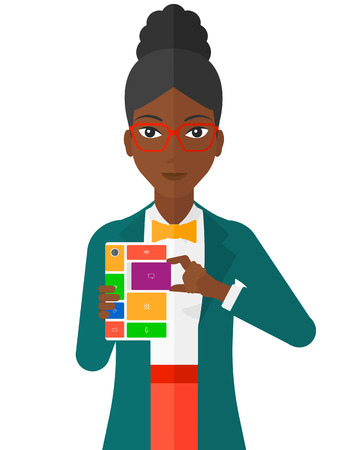 An african-american woman with modular phone vector flat design illustration isolated on white background. Ilustração