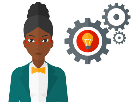 An african-american woman with some gears behind her and a light bulb in one of gears vector flat design illustration isolated on white background. Illustration