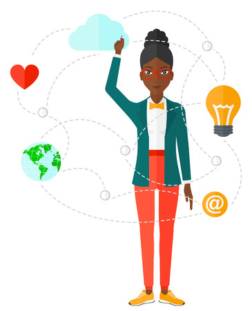 electronic board: An african-american woman writing on virtual board and a cloud above her and some other icons around vector flat design illustration isolated on white background. Illustration