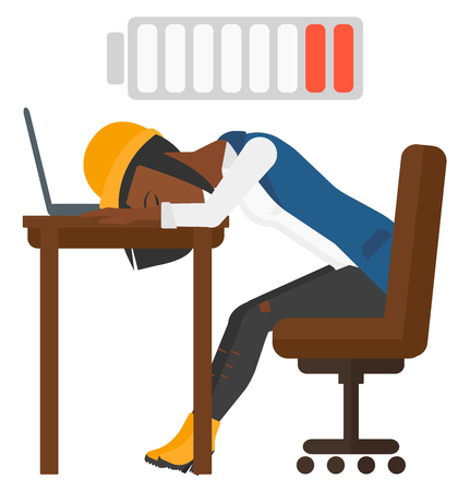 power failure: Tired employee sleeping at workplace on laptop keyboard and low power battery sign over her head vector flat design illustration isolated on white background.