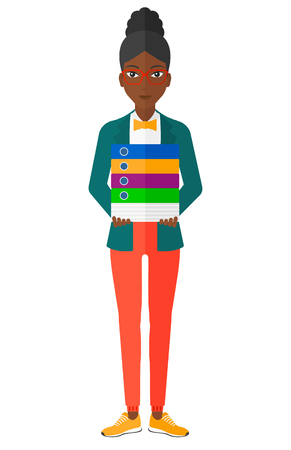file clerk: An african-american woman standing with pile of folders vector flat design illustration isolated on white background.