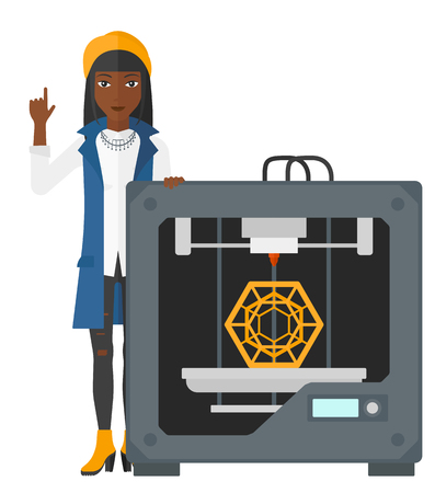 woman pointing up: An african-american woman pointing forefinger up and standing near 3D printer vector flat design illustration isolated on white background. Illustration