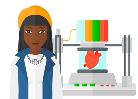 An african-american woman standing near 3D printer making a heart vector flat design illustration isolated on white background.