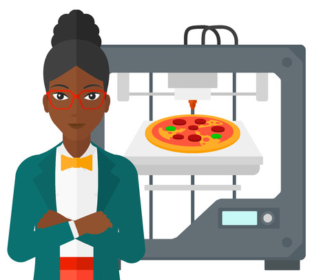 polymerization: An african-american woman standing near 3D printer making a pizza vector flat design illustration isolated on white background. Illustration