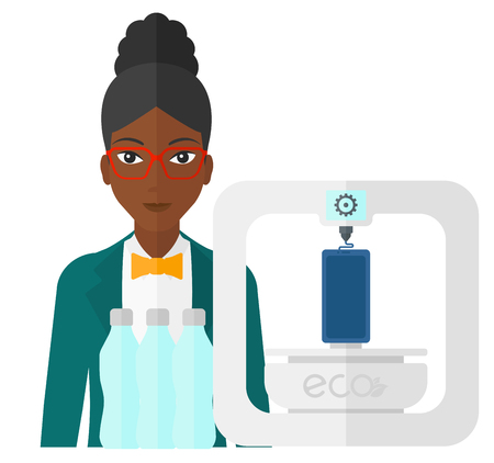 using smartphone: An african-american woman standing near 3D printer making a smartphone using recycled plastic vector flat design illustration isolated on white background. Illustration