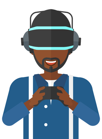An african-american man wearing a virtual relaity headset with remote control in hands vector flat design illustration isolated on white background. Illustration