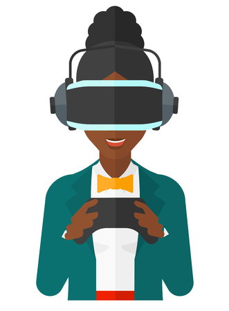 An african-american woman wearing a virtual relaity headset with remote control in hands vector flat design illustration isolated on white background.