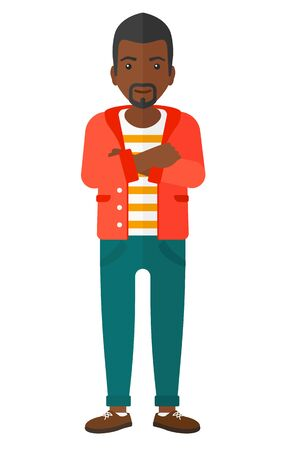 fullbody: A happy african-american man standing with crossed arms vector flat design illustration isolated on white background.