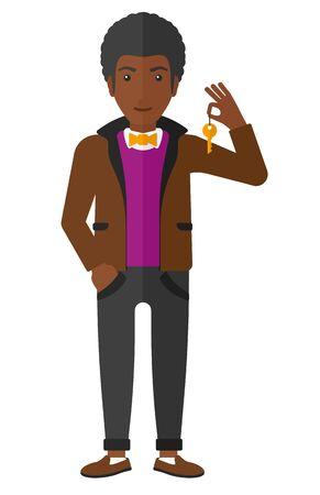 hombre caricatura: Un hombre afroamericano joven que sostiene las llaves del vector Palabras dise�o plano aislado en el fondo blanco.