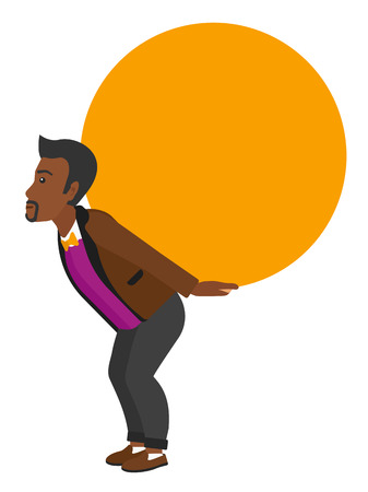 A tired african-american man carrying a big ball on his back vector flat design illustration isolated on white background. Stock Illustratie
