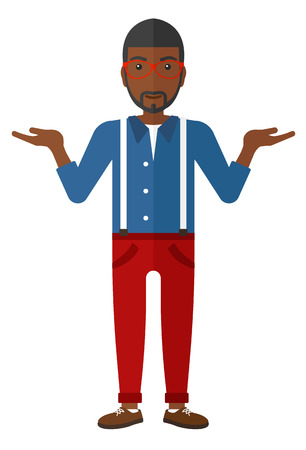 open arms: An african-american man gesturing with open arms vector flat design illustration isolated on white background.
