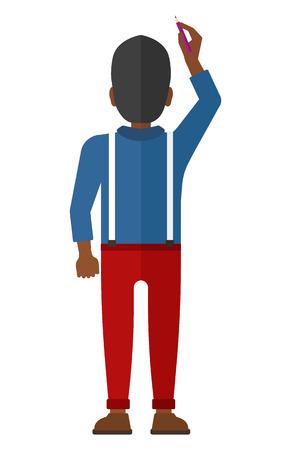 Vista posterior del hombre afroamericano dibujo en la ilustración de diseño plano de la pared del vector aislado en el fondo blanco.