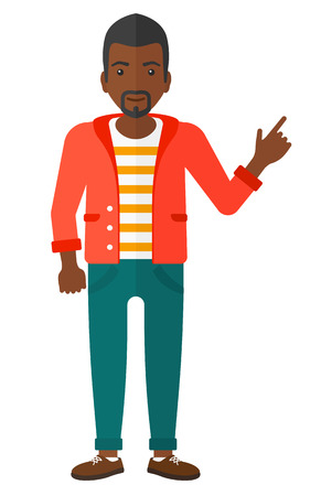 man pointing up: An african-american man pointing up with his forefinger vector flat design illustration isolated on white background.