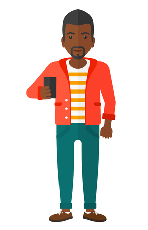 An african-american man making selfie vector flat design illustration isolated on white background.