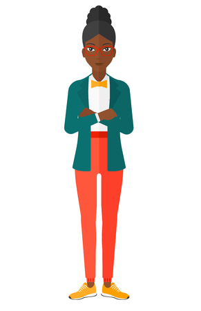crossed arms: An african-american woman standing with crossed arms vector flat design illustration isolated on white background.
