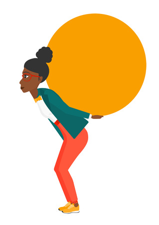relocate: A tired african-american woman carrying a big ball on her back vector flat design illustration isolated on white background. Illustration