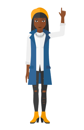 woman pointing up: An african-american woman pointing up with her forefinger vector flat design illustration isolated on white background. Illustration